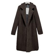Womens Teddy Bear Long Knee Coat Ladies Vintage Faux Fur Jacket Size S-3XL