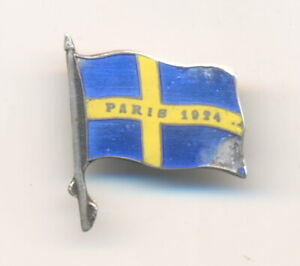 1924 Paris Olympic Games Sweden NOC pin badge Hallmarked silver