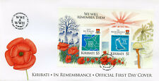 Kiribati 2018 FDC WWI WW1 WWII WW2 Remembrance 2v M/S Cover Military War Stamps