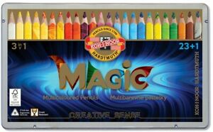 Set of jumbo triangular coloured MAGIC pencils 3408 23 COLOURS +1 DYSPE FSC 100%