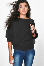 NEW Womens Ladies Off Shoulder Ribbed Knitted Batwing Jumper Top 8-22