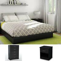 Queen Size Platform Bed Bedroom Set Black 3 Pieces Nightstand Chest Furniture