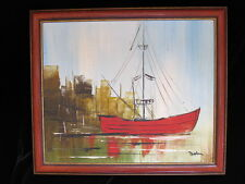 Authentic vintage oil PAINTING abstract RED SAIL BOAT buildings fine art TEXTURE