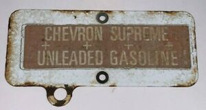 Vintage, CHEVRON SUPREME UNLEADED GASOLINE, Porcelain Coated Gas Pump Tag / Sign