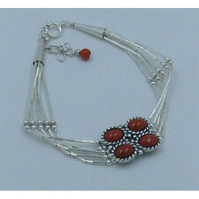 5 Strand .925 Liquid Sterling Silver Mediterranean Red Bamboo Coral Bracelet