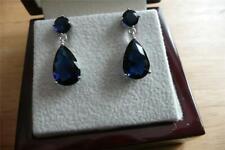 PRETTY SMALL SWEET SIMULATED BLUE SAPPHIRE 925 SILVER DROP DANGLE PEAR EARRINGS