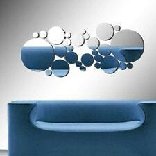 30X Cercles Rond Miroir Sticker Mural Acrylique Autocollant Art 3D DIY Decor NF