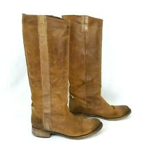 Bebe Riding Boots Womens 38 Cognac Leather Made in Romania US 7 Pull On Nubuck