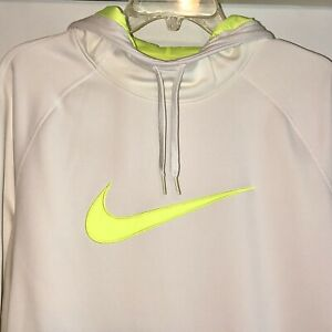 Nike Womens Therma Dri-Fit Training Hoodie White and Volt Neon Yellow/Green  XL