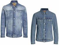 Jack & Jones Mens Distressed Western Denim Vintage Blue Jean Jacket S - 2XL