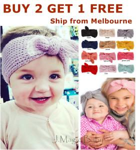 Baby Kids Girl Knit Bow Bunny Ear Headband Hair Band Head Wrap Crochet Cotton