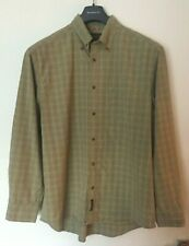 MENS TIMBERLAND BROWN CHECK SHORT SLEEVE SHIRT  SIZE  L  100% COTTON  V.G.C.