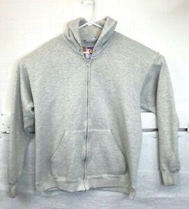 Vintage 90s Lee Heavyweight Heather Grey Zip Up Fleece Jacket Sweatshirt Size L