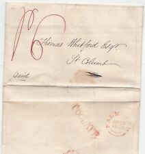 * 1838 RED TOO LATE FALMOUTH PMK LETTER MAPPING ST JUST  J OLVER > THOS WHITFORD