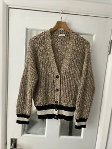 Brunello Cucinelli (made In Italy) Chunky Cotton Knit  Blend V Neck Cardigan M