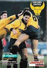 Football Programme>OXFORD UNITED v BRENTFORD Apr 1993