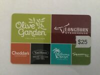 Darden Restaurants Gift Card - $25 - Physical Card Shipped USPS with Tracking
