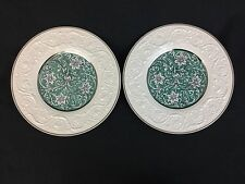"""Wedgwood Patrician Art Nouveau TWO 10 5/8"""" Dinner Plates Turquoise Silver White"""
