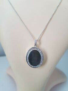 Heavy Sterling Silver Locket with CZ stone with chain