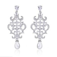 Bridal Swarovski Elements Crystal Silver Tear Drop Dangle Long Pearl Earrings