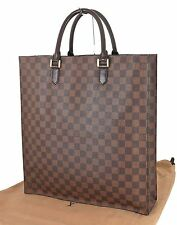 Authentic LOUIS VUITTON Sac Plat Damier Ebene Tote Shopping Bag #21898