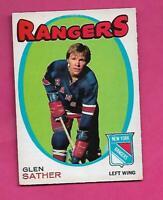 1971-72 OPC  # 221 RANGERS GLEN SATHER EX-MT CARD  (INV# C2864)