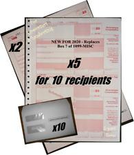 2020 Irs Tax Forms Kit: 1099-Nec Carbonless 10 recipients +10envelopes +(2)1096