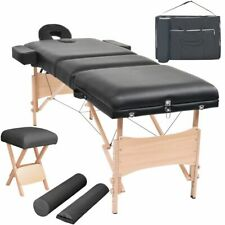 vidaXL Massageliege Hocker 3 Zonen 10cm Polsterung Tragbar Schwarz Massagebank