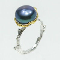 Klassischer Ring Natural Black Pearl 14mm. 925 Sterling Silber Ring / RVS139