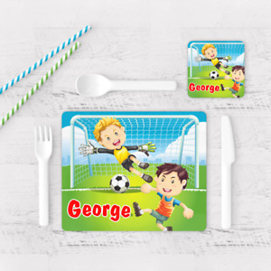 Personalised Football Soccer Goal Boys Kids Children's Table Placemat & Coaster