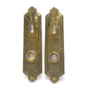 Pair Art Deco Mid century Antique Brass Door Back Plates Key Hole