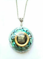 Necklace Orgone Orgonite Cubic Pyrite pendant, Amazonite, Chakra, new age, Reiki