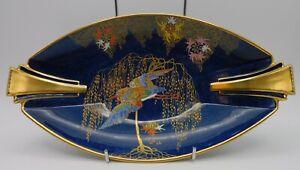 CARLTON WARE BLEU ROYALE DISH WITH BIRD & TREE, GOLD GILDING VGC 27CM LONG.