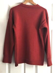 Le Tricoteur Guernsey Jumper Men's Women's Medium Pure New Wool Rust Colour