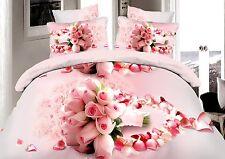 Double Size 3D Bunch of Roses Print Duvet Cover Bedding Set Microfiber Floral