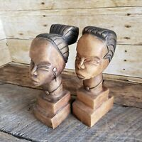 Pair Carved Wood African Bust Heads Tribal Sculpture Couple 8in Ebony Africa Art
