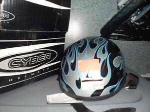 NOS Skid Lid Motorycycle Blue Flames Half Helmet 646936