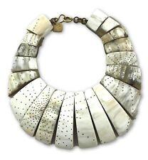 Ashley Pittman New Horn Bib Collar Necklace Gold Tone Accents Hook Closure