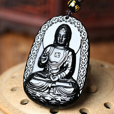 Natural Black A Obsidian Carved Buddha Pendant Chain Necklace Rope Gift Unisex