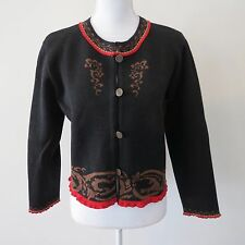 IN WILD NORWAY Womens Small 100% Wool Sweater Cardigan Jacket Nordic Black Red S