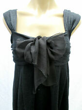 GIAMBATTISTA VALLI Paris Charcoal Gray Silk Linen Knit Dress - size 42 NWT $1230