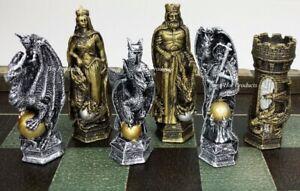 KING ARTHUR KNIGHTS W/ DRAGON FANTASY MEDIEVAL TIMES CHESS MEN SET - NO BOARD