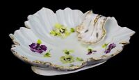 ATQ Porcelain Handpainted Gilded Mint Green Purple Pansy Floral Serving Dish L6Y