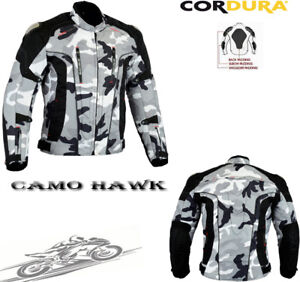 CAMO HAWK MENS EXTRA PROTECTION ARMOUR MOTORBIKE / MOTORCYCLE TEXTILE JACKET