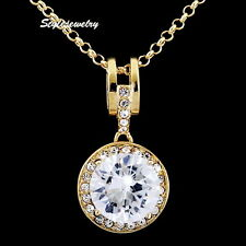 18kRose Gold Plated Made with Swarovski Crystal Round Drop Wedding Necklace N207