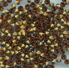 451091 *** 30 STRASS ANCIENS FOND CONIQUE SMOKED TOPAZ 4mm
