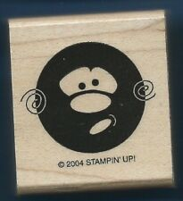 ROUND FUNNY FACE Swirl Expression Mask STAMPIN' UP! HEADS UP! wood RUBBER STAMP