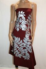 ae'lkemi Brand Burgundy Silver Floral Strapless Dress Size 10 LIKE NEW #AN02