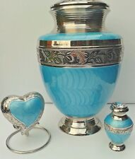 Gorgeous set of 3...Brass Cremation Urns for Ashes in Aqua & Silver