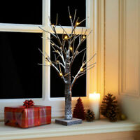 2ft Snowy Twig Christmas Tree 24 Warm White LED Light Christmas Indoor /Outdoor